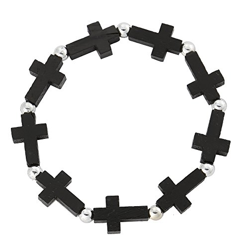 UPC 879367004668, Black Solid Wood Cross Stretch Bracelet with Silver Color Beads Spacer