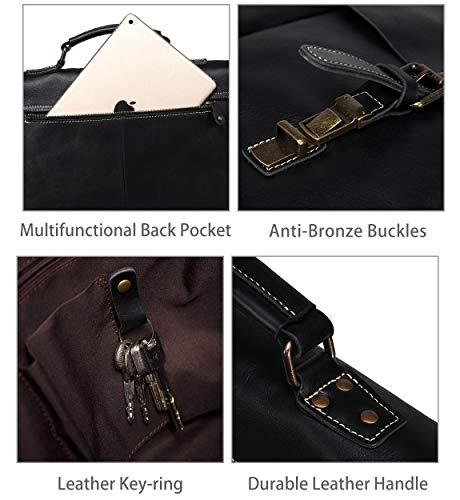 Leather Messenger Bag for Men, VASCHY Handmade Full Cowhide Leather Vintage Satchel 15.6 inch Laptop Business Briefcase Travel Shoulder Bag Black by VASCHY (Image #4)