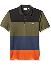 Mens Short Sleeve Reg Fit Heavy Pique Colorblock Polo