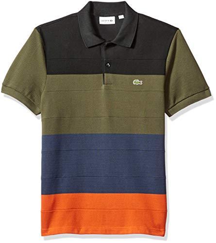 Lacoste Men's Short Sleeve Reg Fit Heavy Pique Colorblock Polo, Nevada Orange/Meridian Blue Medium