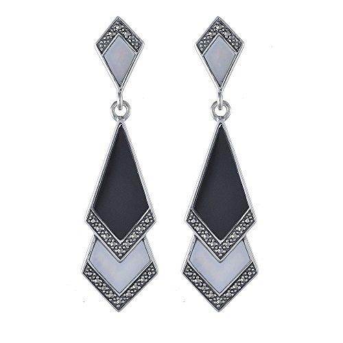 Gemondo Argent 925/1000-Nacre-Onyx et marcassite &&Art Deco Boucles d'Oreille Pendantes Chaîne de 45 cm