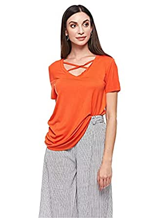 Brave Soul Blouse for Women - Orange Red - M