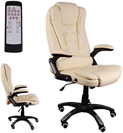 Giosedio BSB Masaje Silla giratoria de Oficina Silla de Escritorio Lujoso Recubrimiento de PU Reposabrazos, Mecanismo de reclinación hasta 150º (Beige)