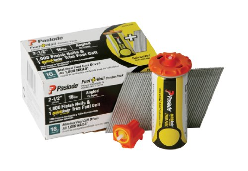 Paslode 650720 2-1/2-Inch 16g Angled Trim Fuel and Nail Pack