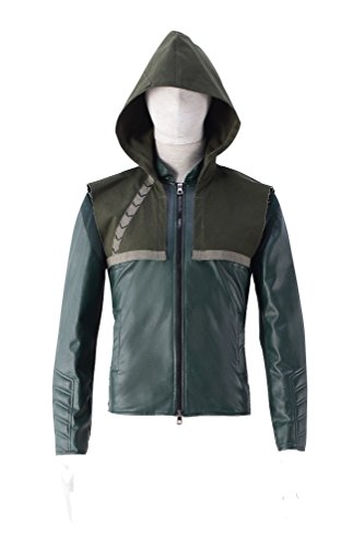 [Dazcos Quality Green Oliver Queen Cosplay Costume Daily Hoodie Jacket (Men S)] (Green Arrow Hoodie Costume)