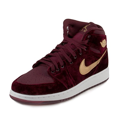 Nike Air Jordan Retro 1 High Premium Grade School Night Maroon/Metallic Gold 5 M US Big Kid by NIKE