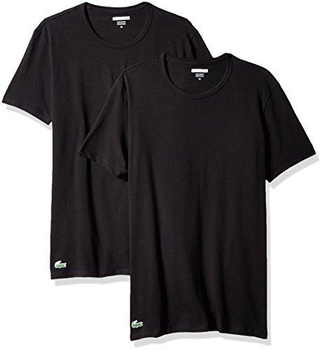 Lacoste Men's 2-Pack Colours Cotton Stretch Crew T-Shirt, Black, - T-shirt Crew Collar Contrast