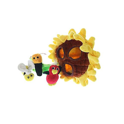 Multipet Sunflower Plush Hideaway Puzzle Dog Toy with Plush Birds and Bees Squeak Toys