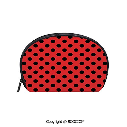 SCOCICI Printed Small Size Storage Makeup Bag Retro Vintage Pop Art Theme Old 60s 50s Rocker Inspired Bold Polka Dots Image for Women Girl Ladies -
