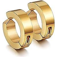 MEENAZ Jewellery Gold Clip-on Press Unisex Stud Non-Piercing Hoop Earrings/Earring for Men/Boys/Boyfriend/ - BALI-M917