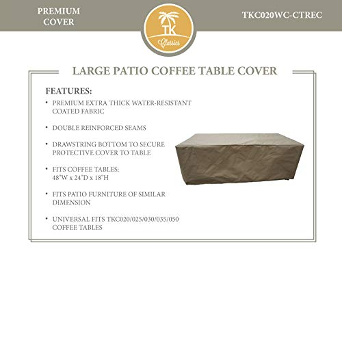 TK Classics Barbados/Cape Cod/Venice/Laguna Rectangular Coffee Table Outdoor Protective Cover, Beige