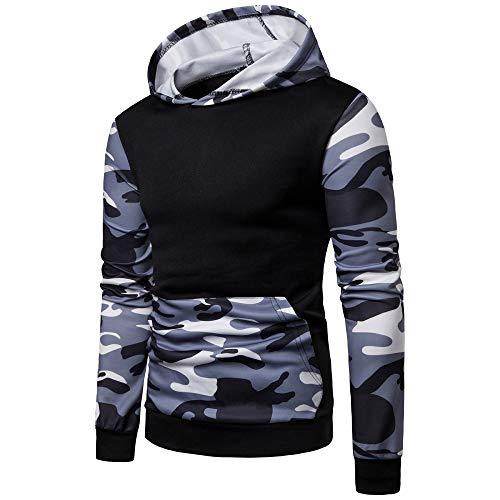 Realdo Mens Camo Hoodie Sweatshirt, Mens Splice Camouflage Military Combat Hooded Pullover Tops(X-Large,Black)