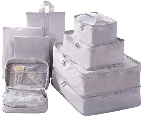 Travel Packing Cubes Set Toiletry Kits Bonus Shoe Bag JJ POWER Luggage Organizers (Grey)