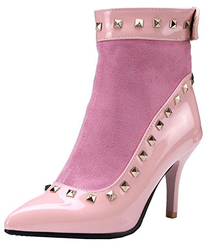 Women's Easemax High Zip Heeled Back Studded Stiletto Ankle Toe Up High Pink Retro Pointed Booties gC4Cqxd