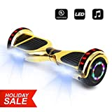 6.5' inch Wheels Electric Smart Self Balancing Scooter Hoverboard with Speaker LED Light - UL2272 Certified (Chrome Gold)