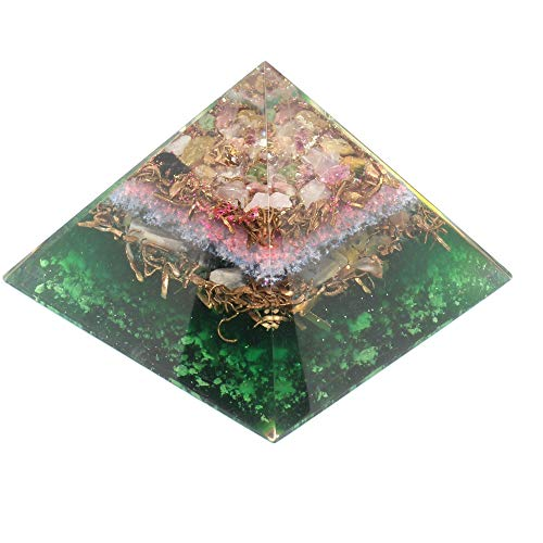 Orgone pyramid with orgone energy- healing crystal based Multi tourmaline Orgonite Pyramid for Positive Energy-EMF Protection