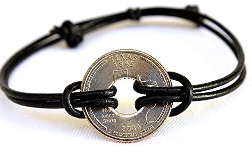 State Quarter Bracelet, Coin Bracelet Homme, Leather Jewelry, Rustic Bracelet, Mens Bracelet, Patina, State Bracelet, Vintage Jewelry Travel