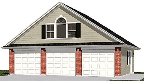 Garage Plans : 3 Car With Attic Truss Loft - 1208-1B - 32'-10 x 26' - three car - By Behm Design ()
