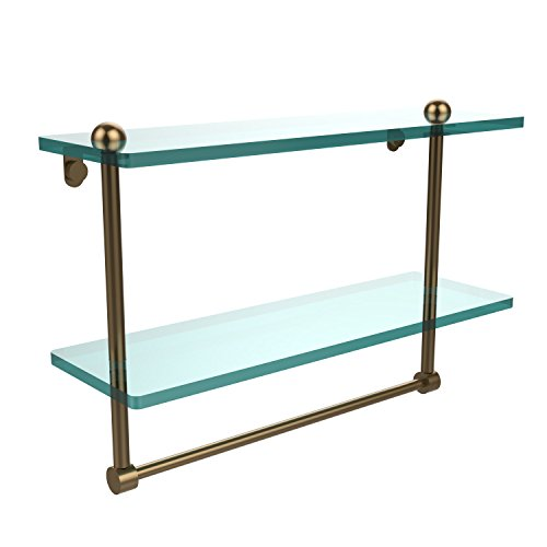 Review Allied Brass RC-2/16TB-BBR 16-Inch Double Glass Shelf with Towel Bar By Allied Brass by Allied Brass
