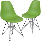 Flash Furniture 2 Pk. Elon Series Green Plastic Chair with Chrome Base Review