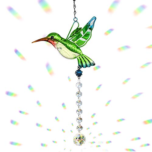 Cosylove Clear Cut Crystal Ball, Cute Green Hummingbird Crystals Ornament Sun Catcher Prisms Chandelier,Home Garden Office Decoration with Gift Box Christmas Wedding Pendant