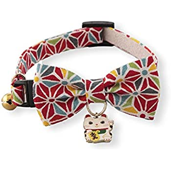 Necoichi Lucky Cat Charm Bow Tie Cat Collar (Red)