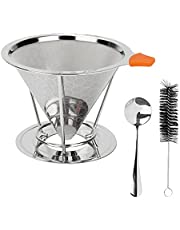 Pour Over Coffee Dripper, BicycleStore Stainless Steel Reusable Coffee Filter Slow Drip Paperless Coffee Strainer 1-4 Cup Metal Cone Coffee Maker Holder with Removable Cup Stand, Spoon, Brush (Silver)