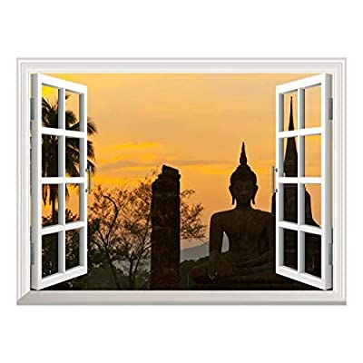 Removable Wall Sticker Wall Mural Wat Mahathat at Sukhothai Historical Park Thailand Creative Window View Wall Decor, Made With Love, Wonderful Technique