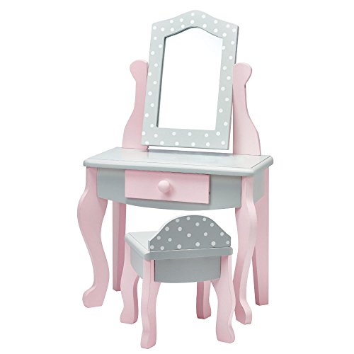 Olivia's Little World - Princess 18 inch Doll Furniture | Vanity Table and Chair Set (Grey Polka Dots) | Fits American Girls, Our Generation and More - Furniture Vanity