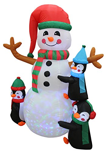 6 Foot Tall Lighted Christmas Inflatable Three Cute Penguins Building Snowman Color LEDs Yard Decoration by BZB Goods (Image #3)