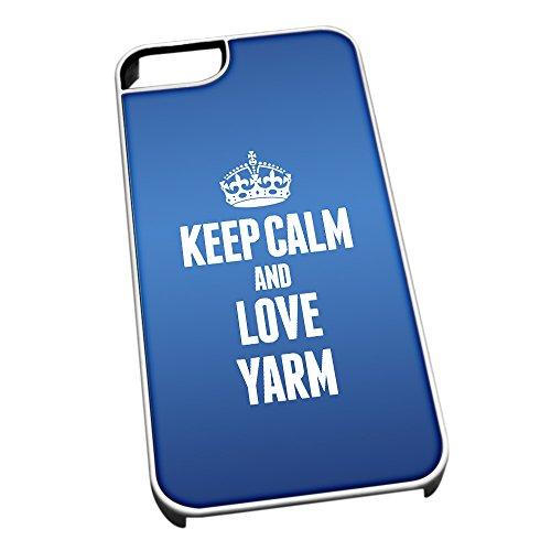 Bianco Custodia protettiva per iPhone 5/5S Blu 0748Keep Calm e Love Yarm