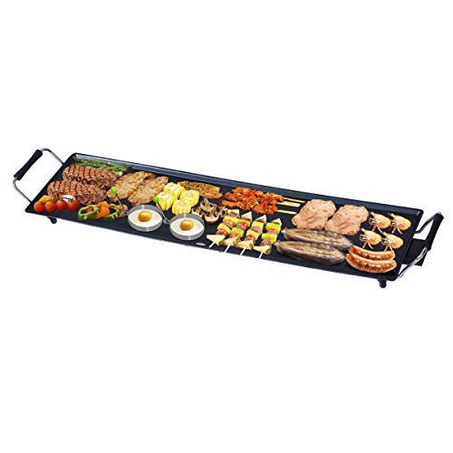 Costzon 35″ Electric Teppanyaki Table Top Grill BBQ Barbecue Nonstick Extra Large Griddle Electric Grills for Camping Indoor Outdoor with Adjustable Temperature