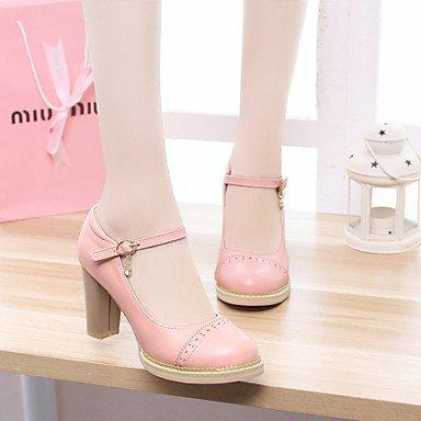 Talones de las mujeres Primavera Verano Otoño Invierno Club de los zapatos de la PU de oficina y carrera del partido y vestido de noche tacón grueso del Rhinestone Rosa Púrpura Blanco Pink