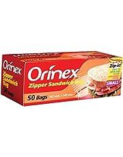 Orinex Zipper Sandwich Bags Small ,165 X 149, 50 Bags, Clear
