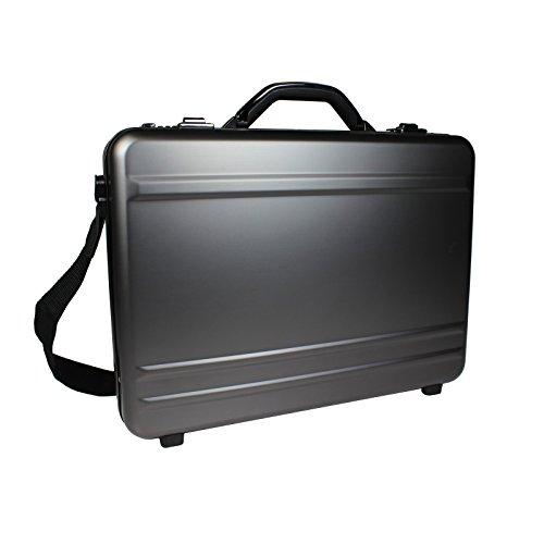 World Traveler European-Style Gun Metal Aluminum Laptop Attache Case