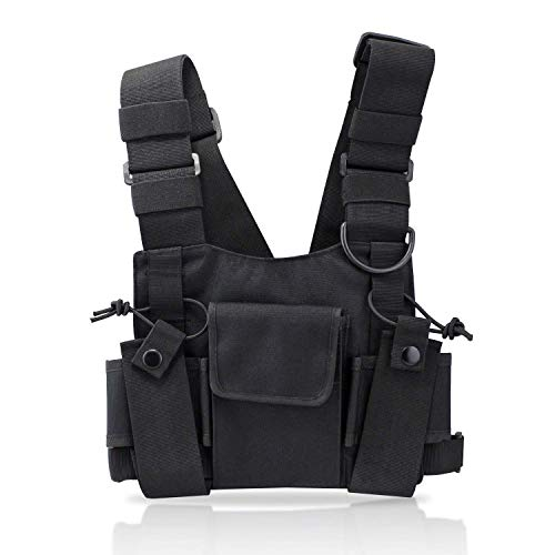st Harness Chest Front Pack Pouch Holster Vest Rig for Two Way Radio Walkie Talkie(Rescue Essentials) (Black) ()