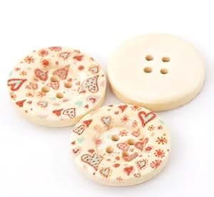 50 Pggpo cadorabo 4 agujeros de corazón de madera de botones álbumes de 25 mm de diámetro (CM 2,54), b21123