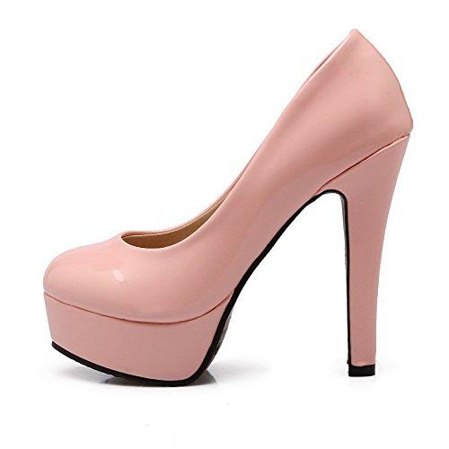 Amoonyfashion Kvinnor Lackläder Rund Sluten Tå Höga Klackar Pådrag Fasta Pumpar-skor Rosa