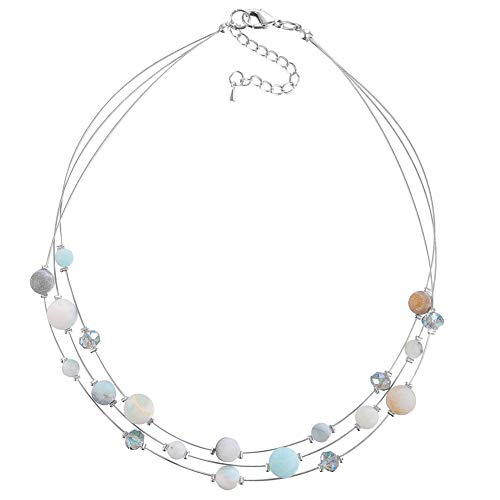 Pearl&Club Crystal Layered Statement Necklace for Women - Choker Necklace with Chunky Silver Chain, Birthday Gifts for Women (01-Green)