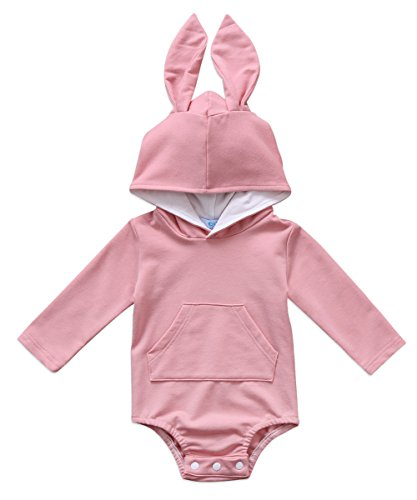 Canis Baby Boys Girls Long Sleeve Bodysuit Cartoon Animal Rabbit Ear Hooded Romper Jumpsuit with Fur Ball (0-6M, Pink)