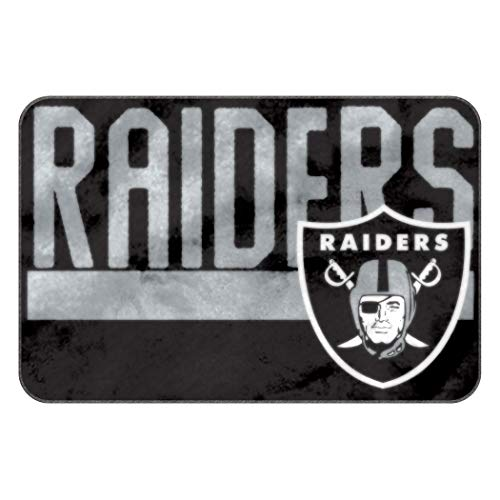 MISC 50x20 NFL Raiders Mat Sports Football Themed Foam Mat Team Logo Printed Area Rug for Boys Teen Bedroom Living Room Bathtub Bathroom Home Decor Floor Carpet Athletic Game Fans -