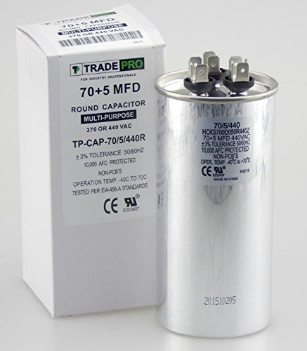 70/5 MFD 440 or 370 Volt Round Run Capacitor Replacement TradePro 70+5