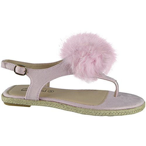 Damen T-Bar Pelz Pom Pom Zehe-Post Espadrilles Sandalen Größe 36-41 Rosa