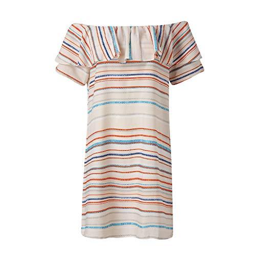 [해외]여성 예쁜 캐주얼 여름 끈이 없는 주름 느슨한 스트라이프 원 숄더 / Ladies Pretty Casual Summer Strapless Ruffled Loose Striped One-Shoulder