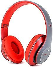 Fone De Ouvido Bluetooth Sem Fio Dobrável Headphone Com Microfone (Vermelho-cinza)