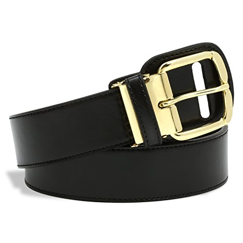 Colored Buckle (Premium Baseball and Softball Belt with Gold Colored Belt Buckle - Wear The Gold Buckle Belt Like The Major Leaguers Wear (Black, Adult) - Waist sizes 33 - 44)
