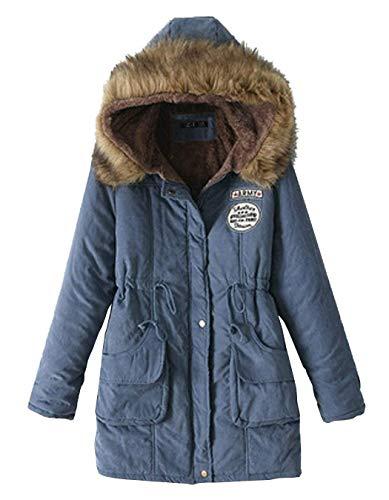 Manches Poches Fermeture Coat Capuche Hiver Veste Unicolore Femme A avec Avant Longues wgRHSqYx8c