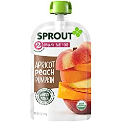 Sprout Organic Baby Food Pouches Stage 2 Sprout Baby Food, Apricot Peach Pumpkin, 4 Ounce (Pack of 5); USDA Organic, Non-GMO, Made with Whole Foods, No Preservatives, Nothing Artificial