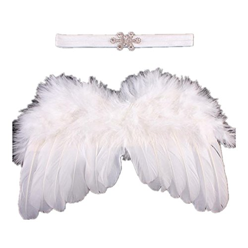 [FEITONG Baby Angel Feather Wings Wing Feather Photo Prop Girls Hair Accessories] (Newborn Angel Wings)