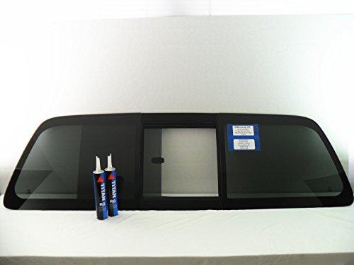 CARLITE Fits 2008-2016 Ford F250 F350 F450 F550 F650 F750 2&4 Door Pickup Sliding Rear Window Back Glass Slider FORD LOGO DB11204YPYOE-W/Glue - Ford Rear Sliding Window